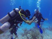 Hi 5 under the water