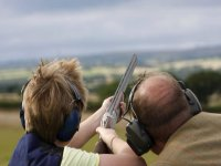 Clay pigeon shooting together