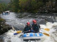 White water rafting is fun.