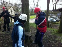 Having a go on the low ropes