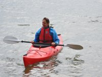 Out on the water in her own personal Kayak