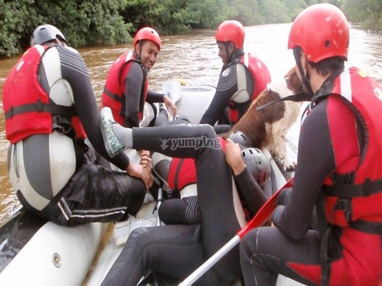 On the rafting boat
