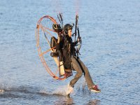 Paramotor landing on the water