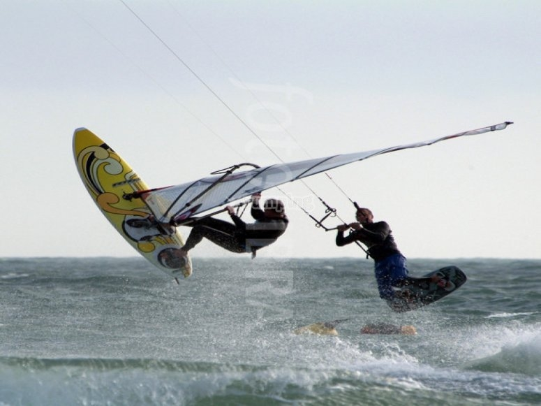 Windsurfer and kitesurfer together
