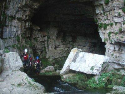 Caving in Cueva de los Chorros river Mundo