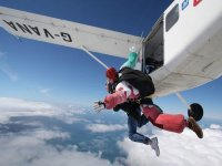 Tandem parachuting jumping off the plane