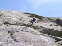 Abseiling down after the climb