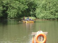 Paddling the raft