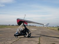 A microlight about to take off