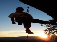 Abseiling at sunset