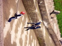 Abseiling down from the tower
