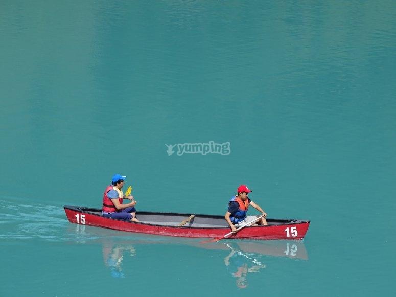 Canoeing in blue waters