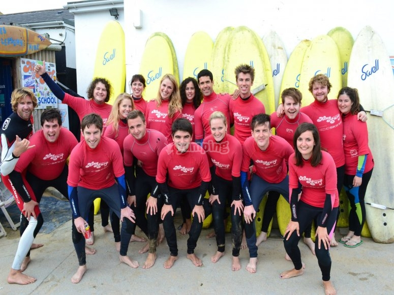 group surfing lesson newquay mawgan porth cornwall