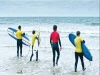 Safety briefing before surfing