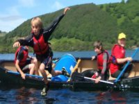 Leaping from the canoe