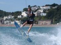 Skilled wakeboarder in action
