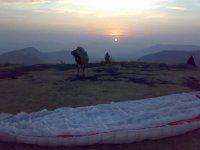 Preparing for a dawn flight, India