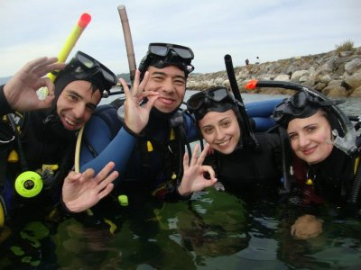 Sea diving baptism in A Coruña