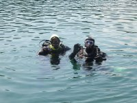 In the water at Stoney Cove Dive Site