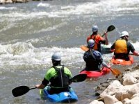 Kayaking in white waters