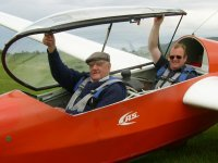 Our oldest member prepares for a flight with an instructor