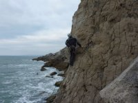 Climbing on Fallen Slab Arete, Blacknor Beach
