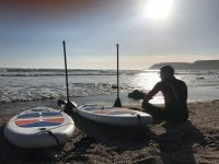 Paddleboards on the shore