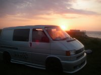 Van and sunset after a session