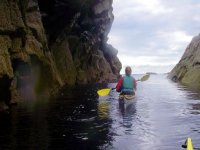 Paddling between the rocks