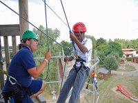 Abseiling pupil with instructor