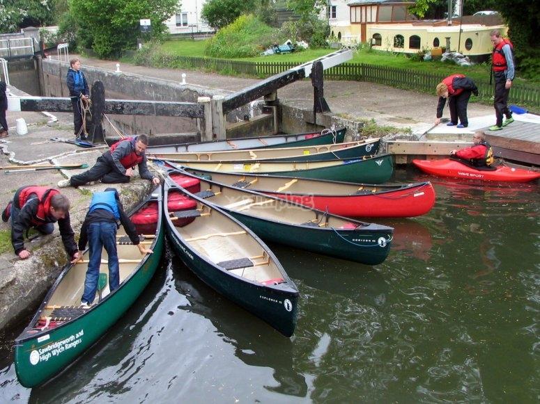Paddling fro Pig Lane Stortford in Open Canoes