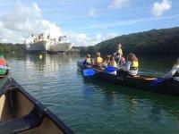 Children canoeing activity