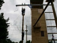 Our climbing walls are surrounded with high ropes