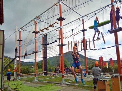 Tree-top rope circuit for kids in Lozoya