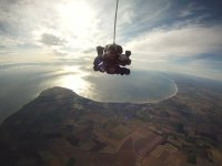 Skydiving over the sea