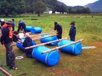 Building your raft with a variety of equipment