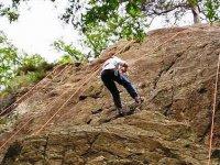 Rock climbing steep cliff faces