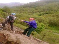 More than one person can be abseiling at any one time if the conditions permit