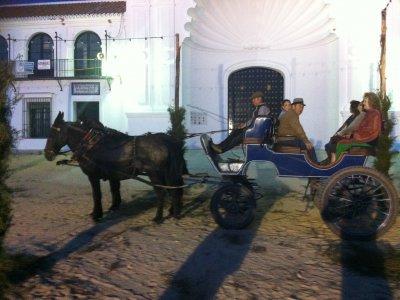 Mule drawn carriage ride, El Rocío, children