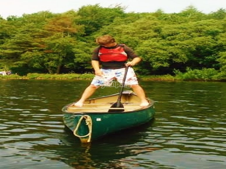 Playing in a canoe