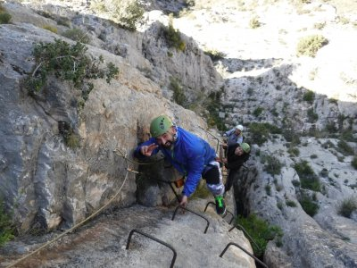 Via ferrata low difficulty in mountains Utrillas