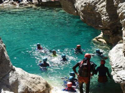 Descent of a canyon level III at Vega de Pas