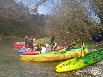 Bachelor party, canoes and rural house, Unquera