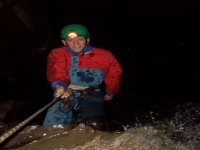 Abseiling underground