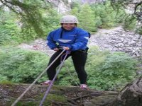 Abseiling down rock faces