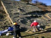 Belaying a fellow climber