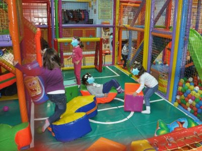 Birthday party for kids with piñata and cake