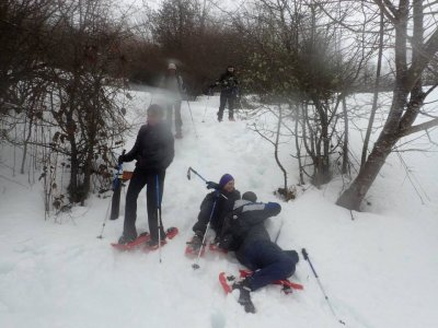 Route with snowshoes in Asturias