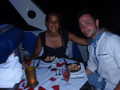 Romantic dinner in a boat at Mallorca