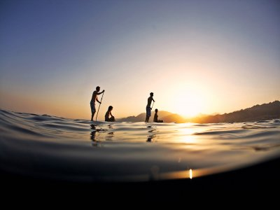 SUP Board tour in Mallorca at sunset